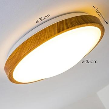 Bad Deckenlampe Sora Wood mit warmweißem Licht in Holzoptik - Deckenstrahler für Badezimmer - Flur - Küche - Innenlampe mit LED-Licht in schickem Holz-Dekor - 2