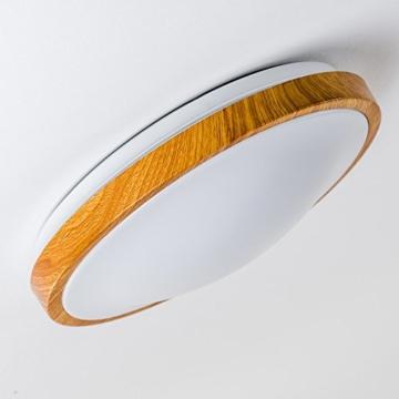 Bad Deckenlampe Sora Wood mit warmweißem Licht in Holzoptik - Deckenstrahler für Badezimmer - Flur - Küche - Innenlampe mit LED-Licht in schickem Holz-Dekor - 3