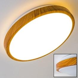 Bad Deckenlampe Sora Wood mit warmweißem Licht in Holzoptik - Deckenstrahler für Badezimmer - Flur - Küche - Innenlampe mit LED-Licht in schickem Holz-Dekor - 1