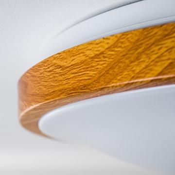 Bad Deckenlampe Sora Wood mit warmweißem Licht in Holzoptik - Deckenstrahler für Badezimmer - Flur - Küche - Innenlampe mit LED-Licht in schickem Holz-Dekor - 4