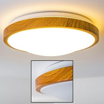 Bad Deckenlampe Sora Wood mit warmweißem Licht in Holzoptik - Deckenstrahler für Badezimmer - Flur - Küche - Innenlampe mit LED-Licht in schickem Holz-Dekor - 5