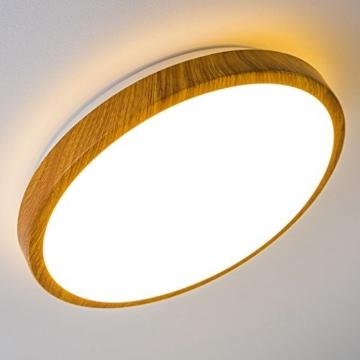 Bad Deckenlampe Sora Wood mit warmweißem Licht in Holzoptik - Deckenstrahler für Badezimmer - Flur - Küche - Innenlampe mit LED-Licht in schickem Holz-Dekor - 7