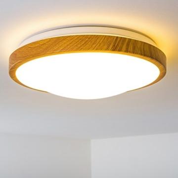 Bad Deckenlampe Sora Wood mit warmweißem Licht in Holzoptik - Deckenstrahler für Badezimmer - Flur - Küche - Innenlampe mit LED-Licht in schickem Holz-Dekor - 8