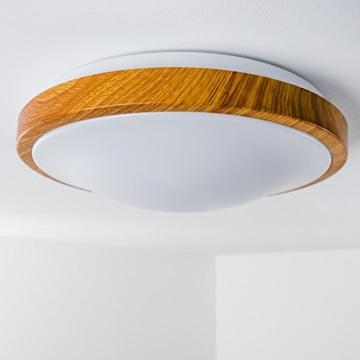 Bad Deckenlampe Sora Wood mit warmweißem Licht in Holzoptik - Deckenstrahler für Badezimmer - Flur - Küche - Innenlampe mit LED-Licht in schickem Holz-Dekor - 9