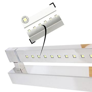 ELINKUME 5W 21 LEDs SMD 5050 Edelstahl LED Spiegel Licht Wandleuchte Badleuchte Bad Badlampe Kaltweiss - 3