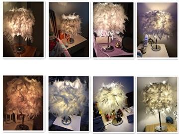 Federn Tischlampe,Nachttischlampe mit Weiß Feder, Retro Tischleuchte,Schlafzimmer Wohnzimmer moderne Lichter - 2