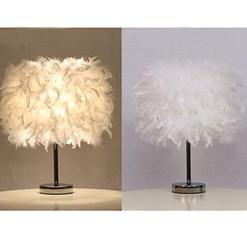 Federn Tischlampe,Nachttischlampe mit Weiß Feder, Retro Tischleuchte,Schlafzimmer Wohnzimmer moderne Lichter - 3