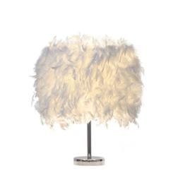 Federn Tischlampe,Nachttischlampe mit Weiß Feder, Retro Tischleuchte,Schlafzimmer Wohnzimmer moderne Lichter - 1