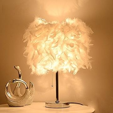 Federn Tischlampe,Nachttischlampe mit Weiß Feder, Retro Tischleuchte,Schlafzimmer Wohnzimmer moderne Lichter - 5