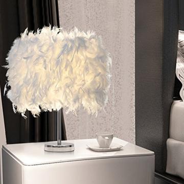 Federn Tischlampe,Nachttischlampe mit Weiß Feder, Retro Tischleuchte,Schlafzimmer Wohnzimmer moderne Lichter - 6