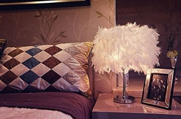 Federn Tischlampe,Nachttischlampe mit Weiß Feder, Retro Tischleuchte,Schlafzimmer Wohnzimmer moderne Lichter - 7