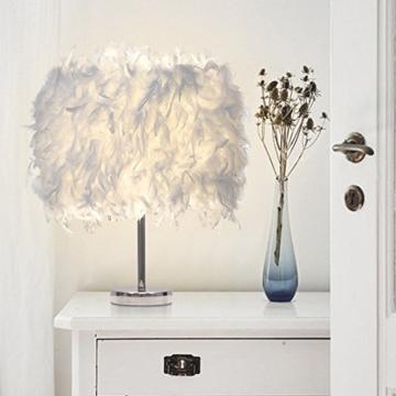 Federn Tischlampe,Nachttischlampe mit Weiß Feder, Retro Tischleuchte,Schlafzimmer Wohnzimmer moderne Lichter - 8
