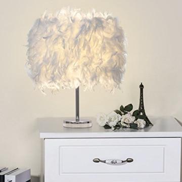 Federn Tischlampe,Nachttischlampe mit Weiß Feder, Retro Tischleuchte,Schlafzimmer Wohnzimmer moderne Lichter - 9