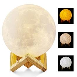 Größer! 15cm Mond Lampe Nachtlampe 3D Mond Lampe Mondlicht ALED LIGHT 5.9 Zoll Durchmesser Mond Nachtlicht Lampe 3 Farbe Wählbar Schlafzimmer Dekor USB Lade Stimmung Licht für Schlafzimmer Cafe Bar Esszimmer - 1