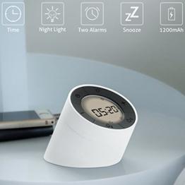 Lichtwecker , GLISTENY Wecker LED, mit Digitalem Wecker und Schlummer Modus, Leicht zu Lesen, Dimmbares Licht für Tag, Nacht, Schlafzimmer, Küche, Büro usw. (Weiß + Weißes Licht) - 1
