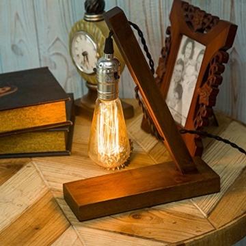 OYGROUP Holz Nachtlicht Tischlampe Vintage Schreibtisch Lampe E27 Edison Glühbirne Wooden Retro Industrial Dimmable Licht für Schlafzimmer Wohnzimmer Home Art Display Cafe Bar Studio Antique Decor - 2