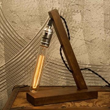 OYGROUP Holz Nachtlicht Tischlampe Vintage Schreibtisch Lampe E27 Edison Glühbirne Wooden Retro Industrial Dimmable Licht für Schlafzimmer Wohnzimmer Home Art Display Cafe Bar Studio Antique Decor - 3