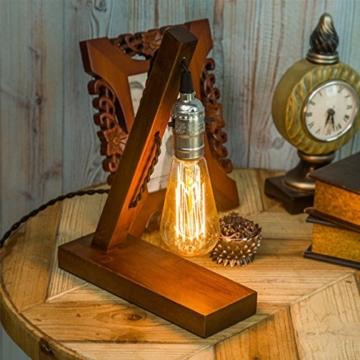 OYGROUP Holz Nachtlicht Tischlampe Vintage Schreibtisch Lampe E27 Edison Glühbirne Wooden Retro Industrial Dimmable Licht für Schlafzimmer Wohnzimmer Home Art Display Cafe Bar Studio Antique Decor - 1