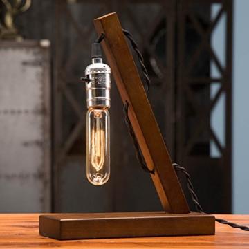 OYGROUP Holz Nachtlicht Tischlampe Vintage Schreibtisch Lampe E27 Edison Glühbirne Wooden Retro Industrial Dimmable Licht für Schlafzimmer Wohnzimmer Home Art Display Cafe Bar Studio Antique Decor - 6