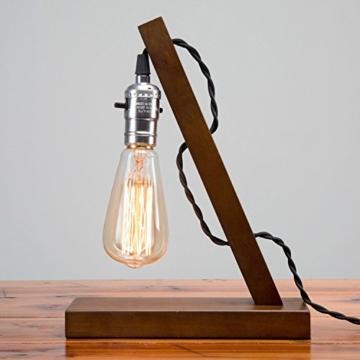 OYGROUP Holz Nachtlicht Tischlampe Vintage Schreibtisch Lampe E27 Edison Glühbirne Wooden Retro Industrial Dimmable Licht für Schlafzimmer Wohnzimmer Home Art Display Cafe Bar Studio Antique Decor - 7
