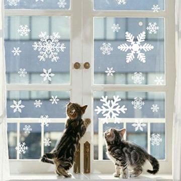 135 Fensterbilder für Weihnachten ,Schneeflocken mit Fensterdeko -Statisch Haftende PVC Aufklebe - 2