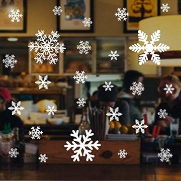 135 Fensterbilder für Weihnachten ,Schneeflocken mit Fensterdeko -Statisch Haftende PVC Aufklebe - 3
