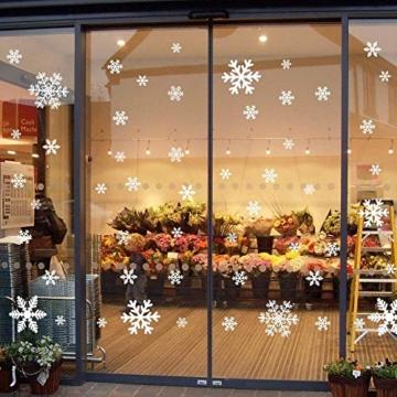 135 Fensterbilder für Weihnachten ,Schneeflocken mit Fensterdeko -Statisch Haftende PVC Aufklebe - 1