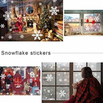 135 Fensterbilder für Weihnachten ,Schneeflocken mit Fensterdeko -Statisch Haftende PVC Aufklebe - 7