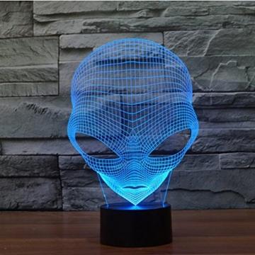 3D Lampe USB Power 7 Farben Amazing Optical Illusion 3D wachsen LED Lampe Alien Formen Kinder Schlafzimmer Nacht Licht - 2