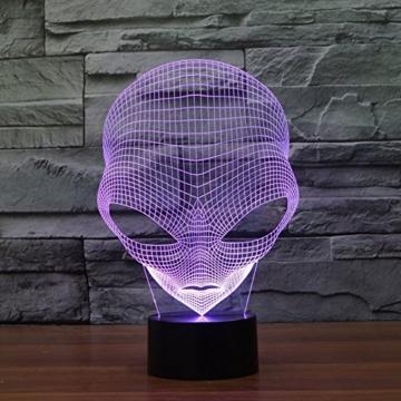 3D Lampe USB Power 7 Farben Amazing Optical Illusion 3D wachsen LED Lampe Alien Formen Kinder Schlafzimmer Nacht Licht - 3