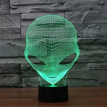 3D Lampe USB Power 7 Farben Amazing Optical Illusion 3D wachsen LED Lampe Alien Formen Kinder Schlafzimmer Nacht Licht - 4