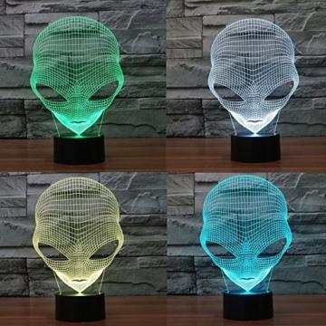 3D Lampe USB Power 7 Farben Amazing Optical Illusion 3D wachsen LED Lampe Alien Formen Kinder Schlafzimmer Nacht Licht - 5