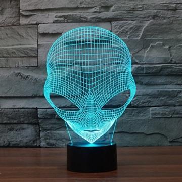 3D Lampe USB Power 7 Farben Amazing Optical Illusion 3D wachsen LED Lampe Alien Formen Kinder Schlafzimmer Nacht Licht - 6