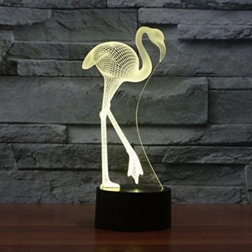 Ahat Romantische 3D Led Illusion Tisch Schreibtisch Deko Lampe 7 Farben ändern Nacht Licht für Schlafzimmer Home Decoration, Hochzeit, Geburtstag, Weihnachten und Valentine Geschenk(Flamingo) - 2