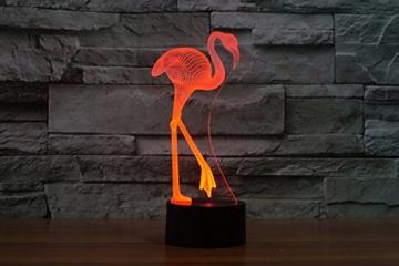 Ahat Romantische 3D Led Illusion Tisch Schreibtisch Deko Lampe 7 Farben ändern Nacht Licht für Schlafzimmer Home Decoration, Hochzeit, Geburtstag, Weihnachten und Valentine Geschenk(Flamingo) - 4