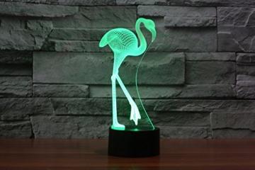 Ahat Romantische 3D Led Illusion Tisch Schreibtisch Deko Lampe 7 Farben ändern Nacht Licht für Schlafzimmer Home Decoration, Hochzeit, Geburtstag, Weihnachten und Valentine Geschenk(Flamingo) - 5