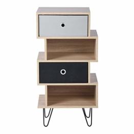 Aingoo Vintage Kommode mit 4 Schubladen,Nachttisch inkl. 2 herausnehmbare Schubladen,Nachtkonsole Nachtkommode Schrank für Schlafzimmer Wohnzimmer-Holz (4 Schubladen) - 1