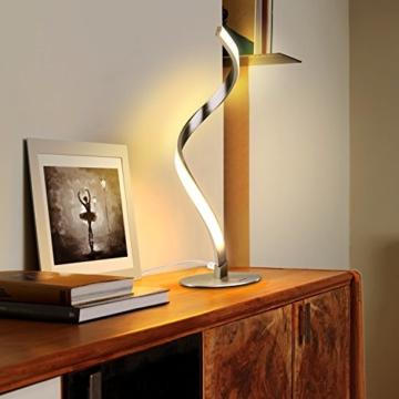 Albrillo Spiral LED Tischlampe aus Aluminium, Moderne 6W Tischleuchte warmweiß mit 1.5 m Kabel Perfekt für Schlafzimmer Wohnzimmer - 4