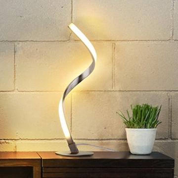 Albrillo Spiral LED Tischlampe aus Aluminium, Moderne 6W Tischleuchte warmweiß mit 1.5 m Kabel Perfekt für Schlafzimmer Wohnzimmer - 1