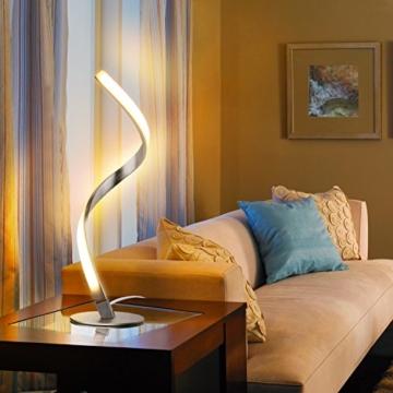 Albrillo Spiral LED Tischlampe aus Aluminium, Moderne 6W Tischleuchte warmweiß mit 1.5 m Kabel Perfekt für Schlafzimmer Wohnzimmer - 6