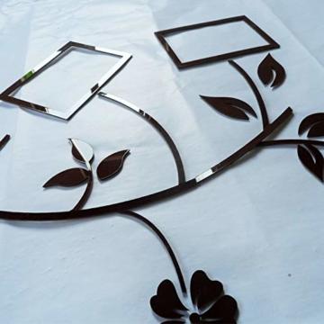 Ammybeddings Wandaufkleber Dekorativer 3D Stereo Wandsticker Schwarz Blumen Blatt Wandtattoo Foto Rahmen Kinderzimmer Wohnzimmer DIY - 2