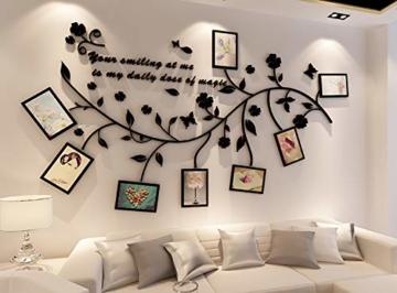Ammybeddings Wandaufkleber Dekorativer 3D Stereo Wandsticker Schwarz Blumen Blatt Wandtattoo Foto Rahmen Kinderzimmer Wohnzimmer DIY - 1