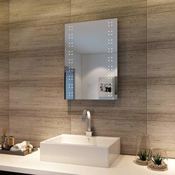 Badspiegel mit energiesparender LED-Beleuchtung kaltweiß IP44 [Energieklasse A+] 50 x 70cm beschlagfrei - 1