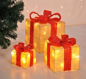 Bambelaa! Led Deko Leucht Geschenk Boxen - 3er Set inkl. Timer Funktion - Weihnachts Dekoration Weihnachtsdeko Beleuchtungsartikel Gelb - 2