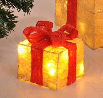 Bambelaa! Led Deko Leucht Geschenk Boxen - 3er Set inkl. Timer Funktion - Weihnachts Dekoration Weihnachtsdeko Beleuchtungsartikel Gelb - 3