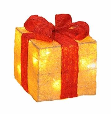 Bambelaa! Led Deko Leucht Geschenk Boxen - 3er Set inkl. Timer Funktion - Weihnachts Dekoration Weihnachtsdeko Beleuchtungsartikel Gelb - 4