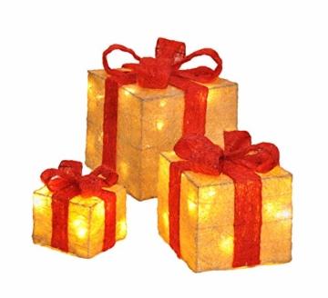 Bambelaa! Led Deko Leucht Geschenk Boxen - 3er Set inkl. Timer Funktion - Weihnachts Dekoration Weihnachtsdeko Beleuchtungsartikel Gelb - 1