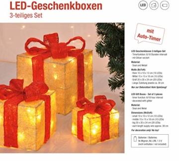 Bambelaa! Led Deko Leucht Geschenk Boxen - 3er Set inkl. Timer Funktion - Weihnachts Dekoration Weihnachtsdeko Beleuchtungsartikel Gelb - 5