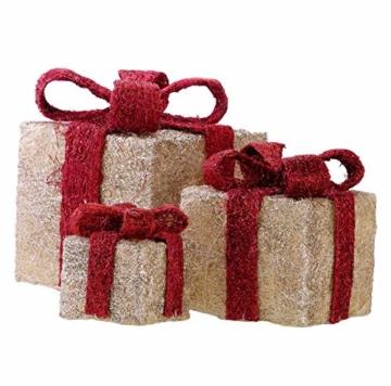Bambelaa! Led Deko Leucht Geschenk Boxen - 3er Set inkl. Timer Funktion - Weihnachts Dekoration Weihnachtsdeko Beleuchtungsartikel Gelb - 7
