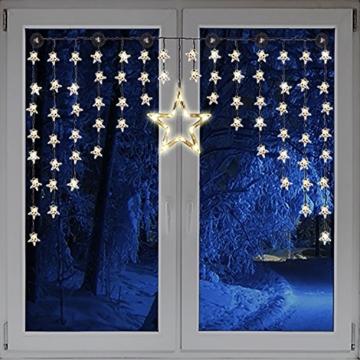 Beleuchteter Weihnacht Sternenvorhang Lichterkette Fensterdeko 90 LED warm weiß mit Saugnäpfe Einfach zu montieren - 1